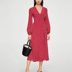 Wrap polka-dot dress